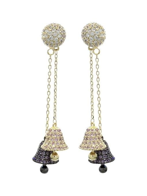 Grab black Brass Cubic Zirconia Bell Luxury Threader Earring