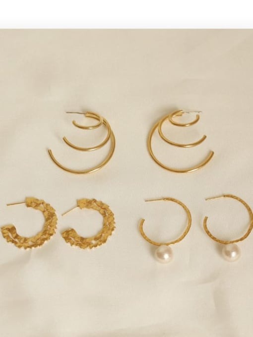 ACCA Brass Geometric Vintage C-shaped big ear ring Hoop Earring 3