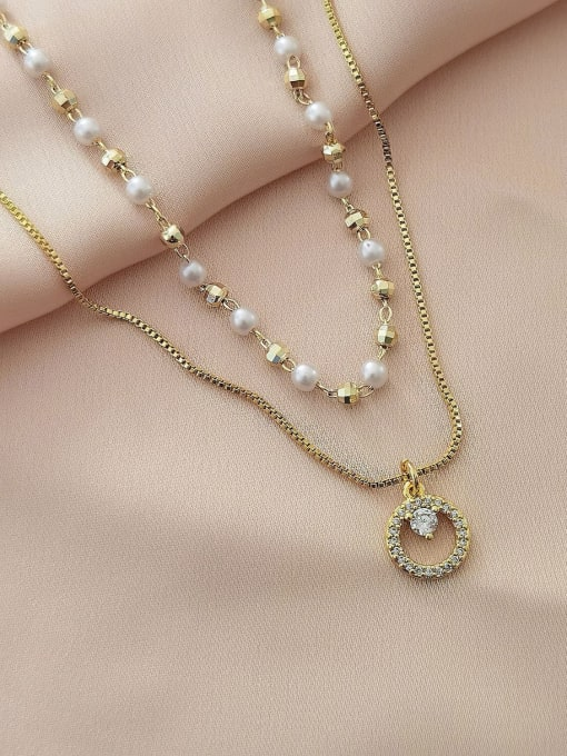 HYACINTH Brass Imitation Pearl Geometric Minimalist Multi Strand Necklace 1