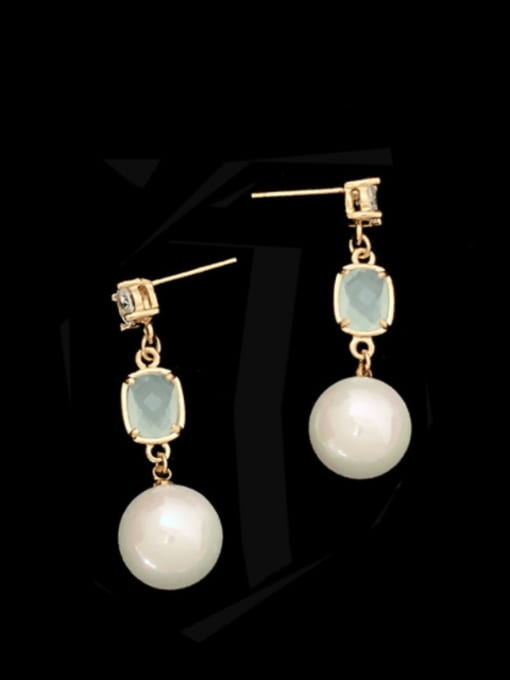 SUUTO Brass Imitation Pearl Geometric Trend Drop Earring 0