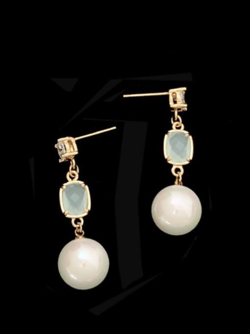 SUUTO Brass Imitation Pearl Geometric Trend Drop Earring