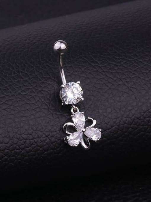 HISON Stainless steel Cubic Zirconia Flower Hip Hop Belly studs & Belly Bars 1
