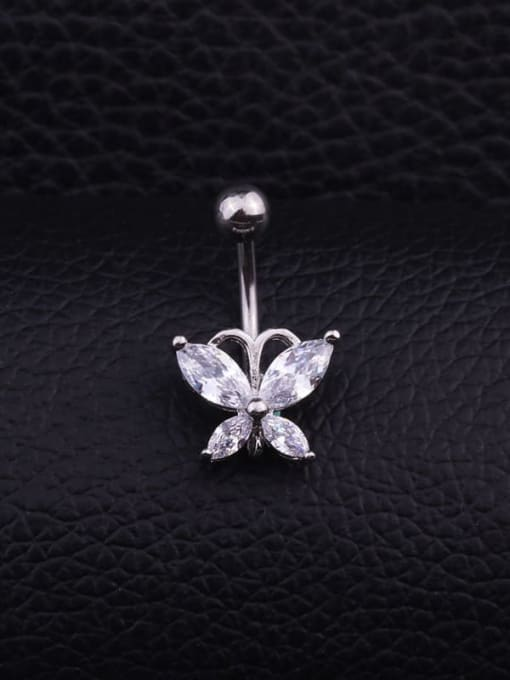 Section G Single Stainless steel Cubic Zirconia Flower Hip Hop Belly Rings & Belly Bars