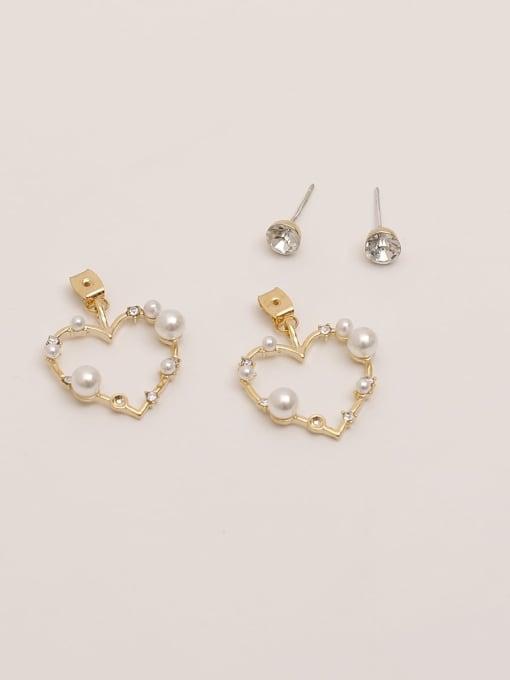 HYACINTH Brass Imitation Pearl Heart Vintage Drop Earring 1