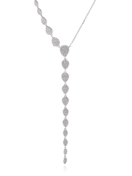 YILLIN Brass Cubic Zirconia Tassel Minimalist Tassel Necklace 0
