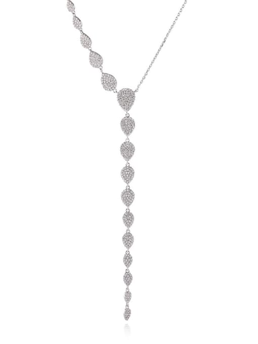 platinum Brass Cubic Zirconia Tassel Minimalist Tassel Necklace
