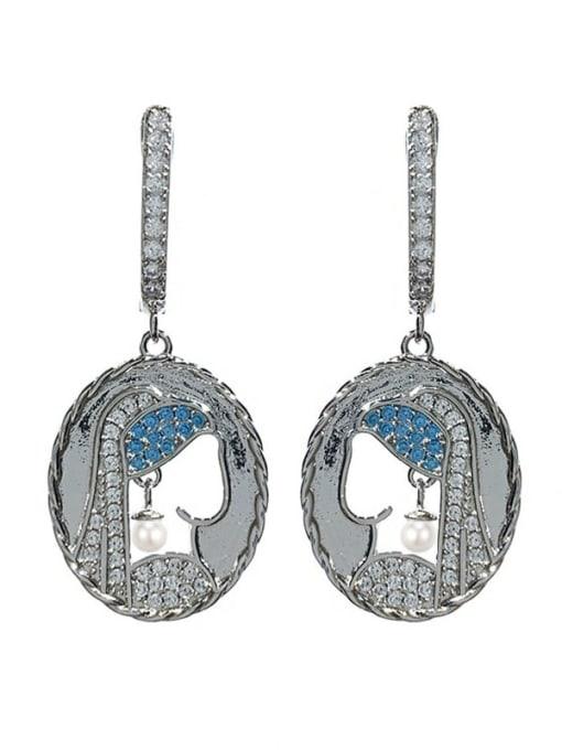 steel Brass Cubic Zirconia Geometric Vintage Huggie Earring