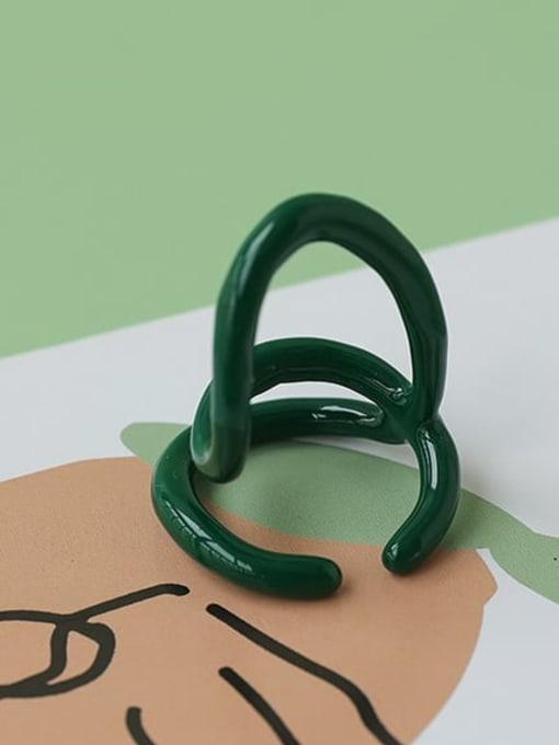 Five Color Zinc Alloy Enamel Line Geometric Minimalist Stackable Ring 2