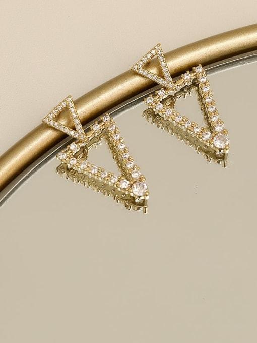 HYACINTH Brass Cubic Zirconia Geometric Vintage Drop Earring 3
