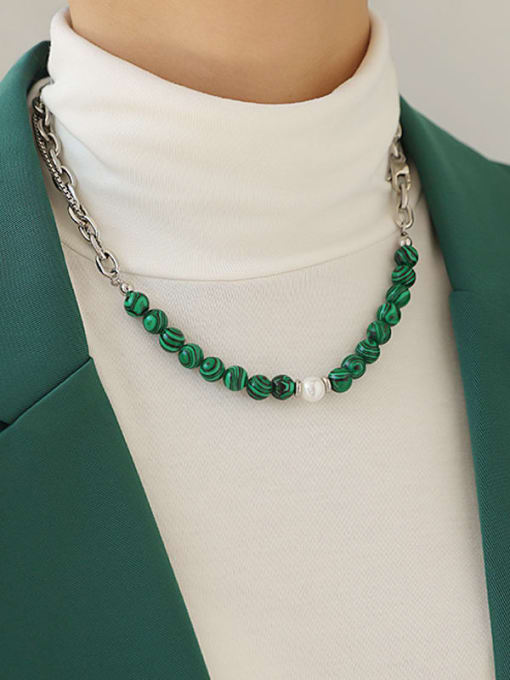 TINGS Brass Imitation Pearl Geometric Hip Hop Necklace 1