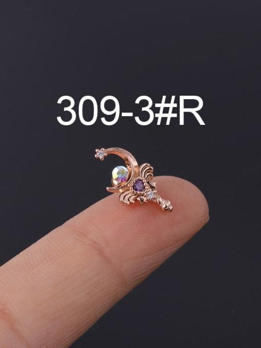 3 Rose Gold  Single Brass Cubic Zirconia Geometric Hip Hop Chandelier Earring