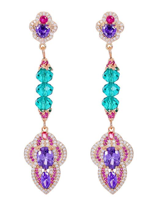 Purple orchid Brass Cubic Zirconia Geometric Luxury Drop Earring
