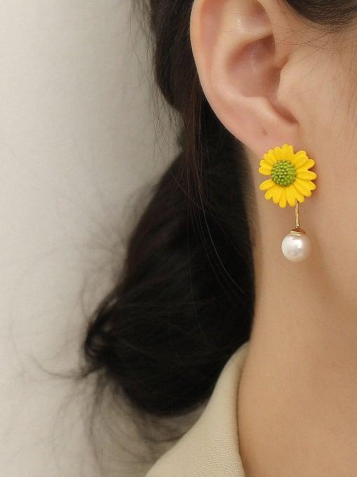 HYACINTH Brass Imitation Pearl Enamel Flower Cute Drop Earring 1