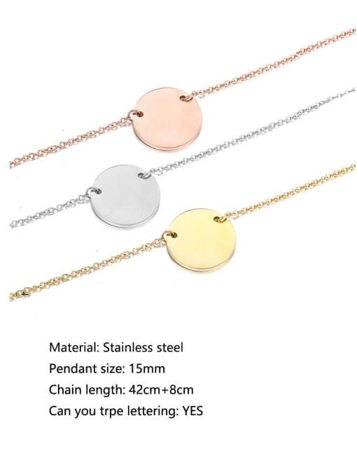 Desoto Titanium Steel Round Minimalist  Trpe Lettering Necklace 1