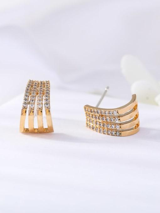 OUOU Brass Cubic Zirconia Geometric Ethnic Stud Earring 3