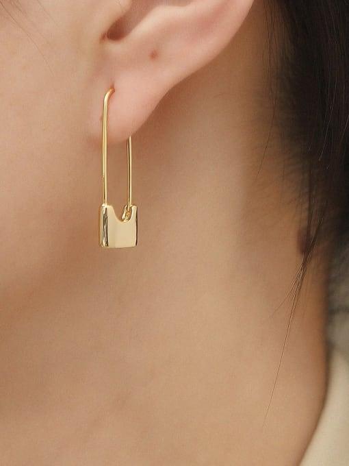 HYACINTH Brass Geometric Minimalist Hook Earring 1