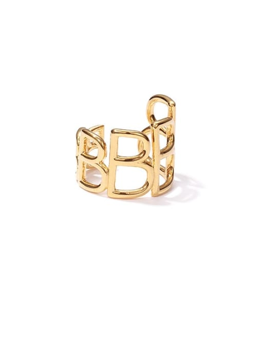 ACCA Brass Hollow Geometric Vintage Band Ring 0