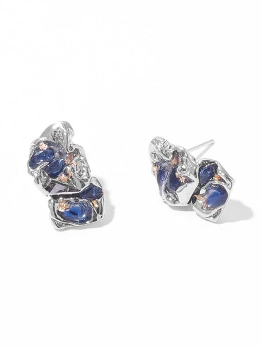 Blue Zircon Earrings Brass Rhinestone Geometric Vintage Drop Earring