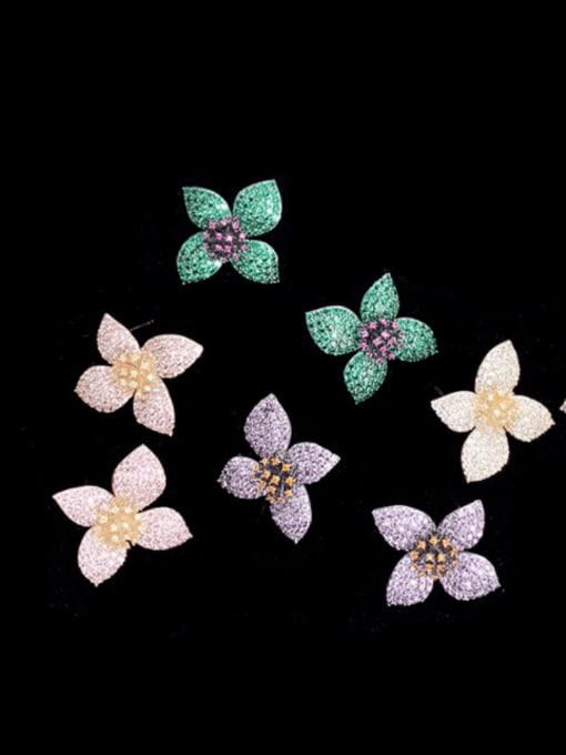 SUUTO Brass Cubic Zirconia Flower Vintage Stud Earring