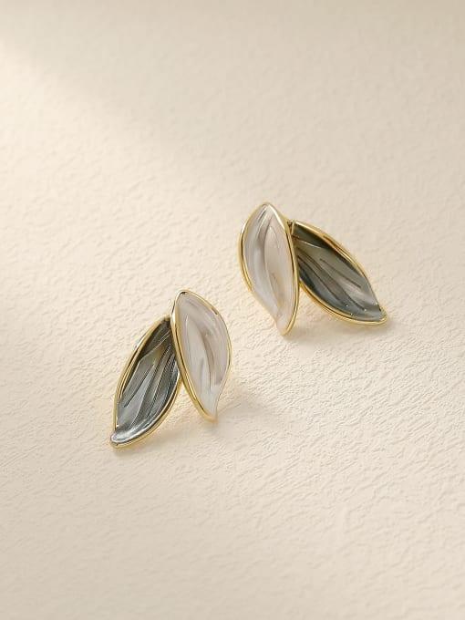 HYACINTH Brass Tree Leaf Minimalist Stud Earring 0