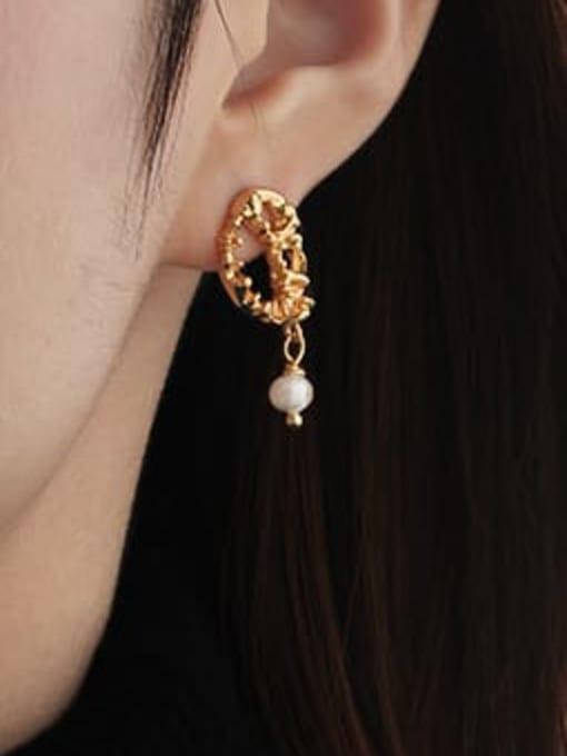 TINGS Brass Imitation Pearl Geometric Vintage Drop Earring 1