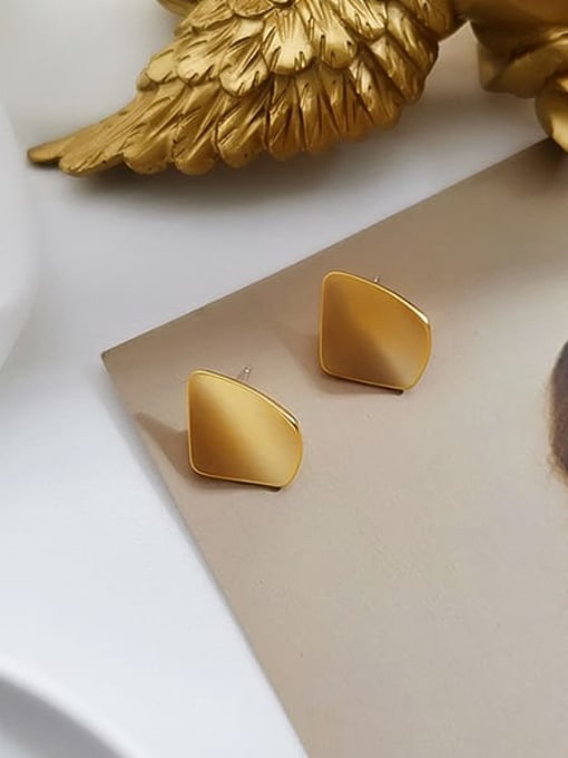 Dumb gold ear acupuncture Brass Smooth Geometric Vintage Stud Earring
