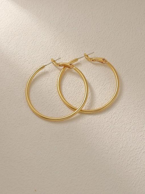 HYACINTH Brass Geometric Minimalist Hoop Trend Korean Fashion Earring 2