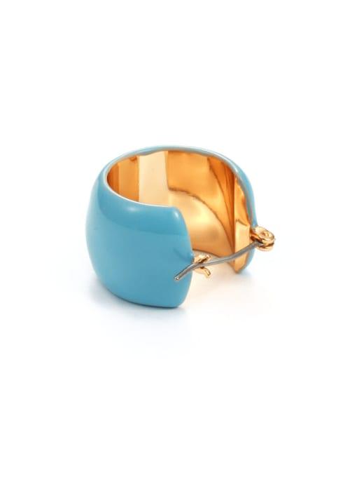 Blue Earrings Brass Enamel Geometric Minimalist Huggie Earring