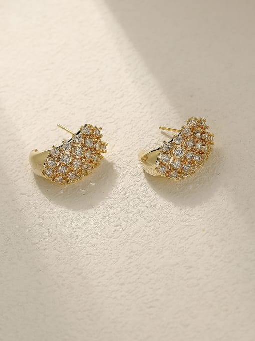 HYACINTH Brass Cubic Zirconia Geometric Vintage Stud Trend Korean Fashion Earring 0
