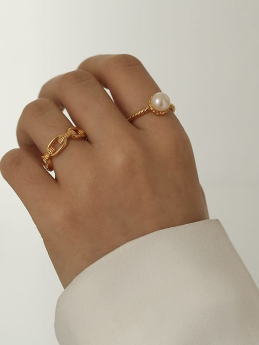 Five Color Brass Imitation Pearl Geometric Vintage Band Ring 2