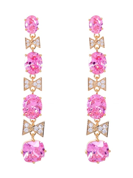 Pink Brass Cubic Zirconia Geometric Luxury Drop Earring