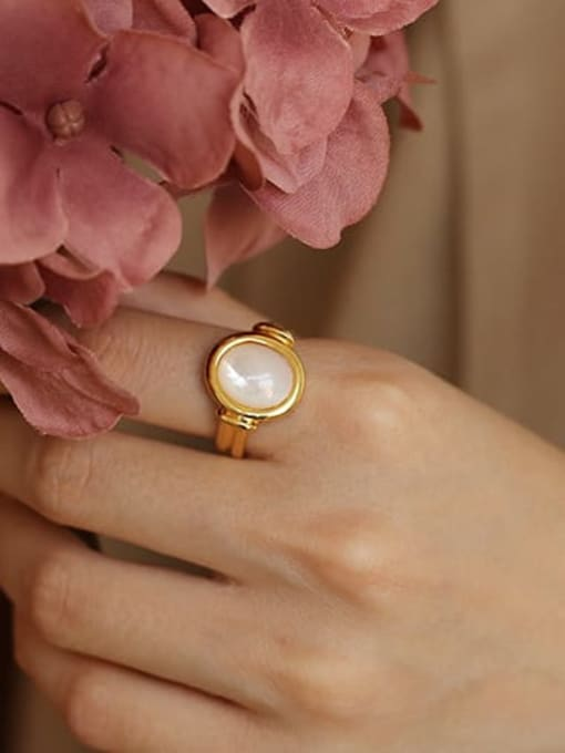 ACCA Brass Shell Geometric Vintage Band Ring 0