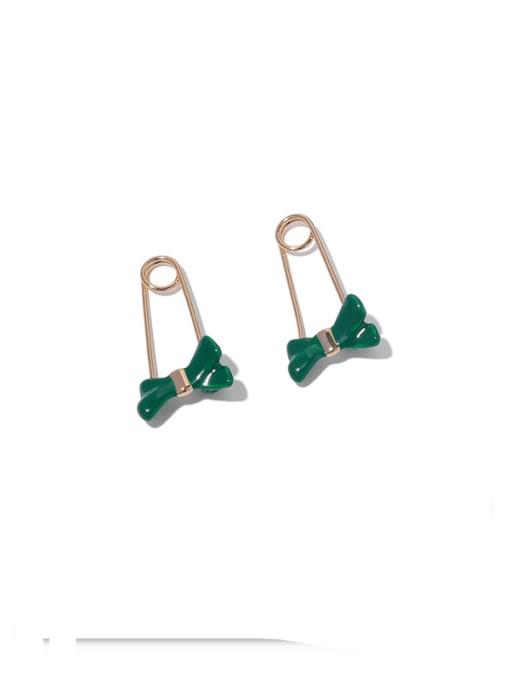Green Earrings Brass Enamel Bowknot Minimalist Huggie Earring