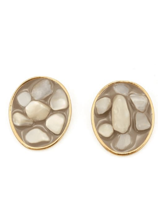 White shell Alloy Glass Stone Round Hip Hop Stud Earring
