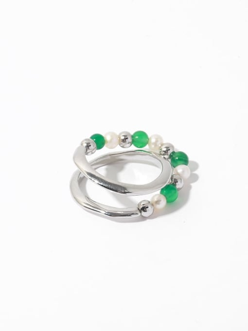 Cross Ring Brass Imitation Pearl Geometric Vintage Stackable Ring