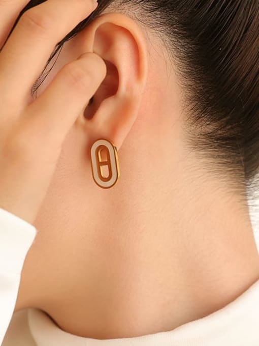Five Color Brass Shell Geometric Vintage Stud Earring 1