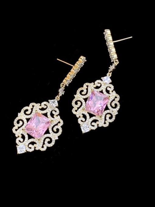 SUUTO Brass Cubic Zirconia Flower Dainty Drop Earring