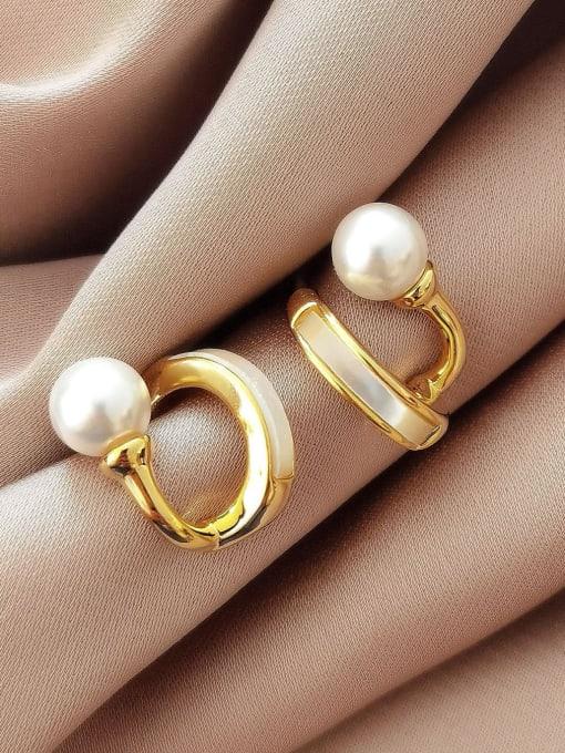 14k gold Brass Shell Geometric Minimalist Huggie Earring