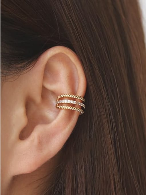 ACCA Brass Cubic Zirconia Geometric Minimalist Single  Clip Earring(Single) 0