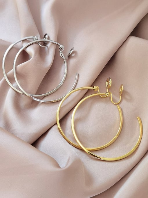 HYACINTH Brass Hollow Round Minimalist Hoop Earring 0