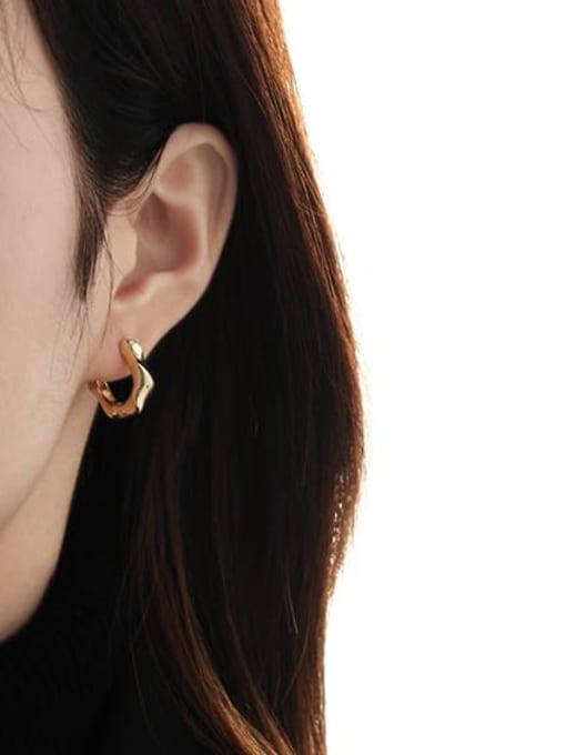 TINGS Brass Geometric Vintage Huggie Earring 2
