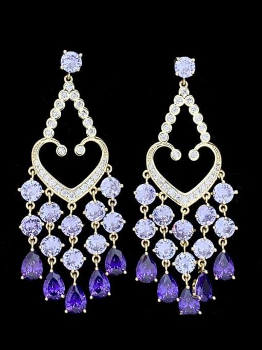 SUUTO Brass Cubic Zirconia Heart Tassel Luxury Drop Earring 0