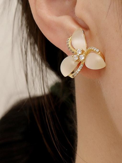 HYACINTH Brass Cats Eye Flower Minimalist Stud Earring 1