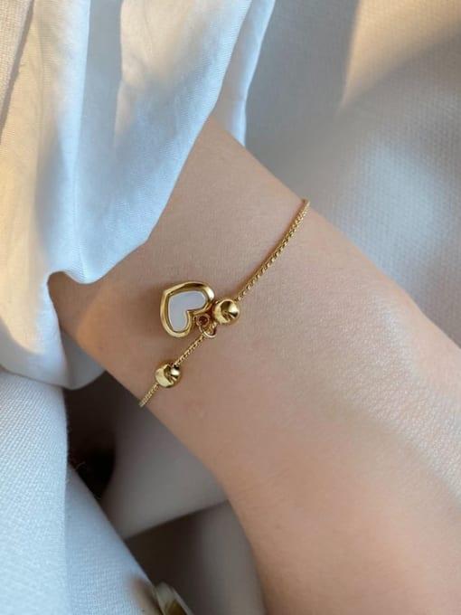 HYACINTH Brass Shell Heart Minimalist Adjustable Bracelet 1