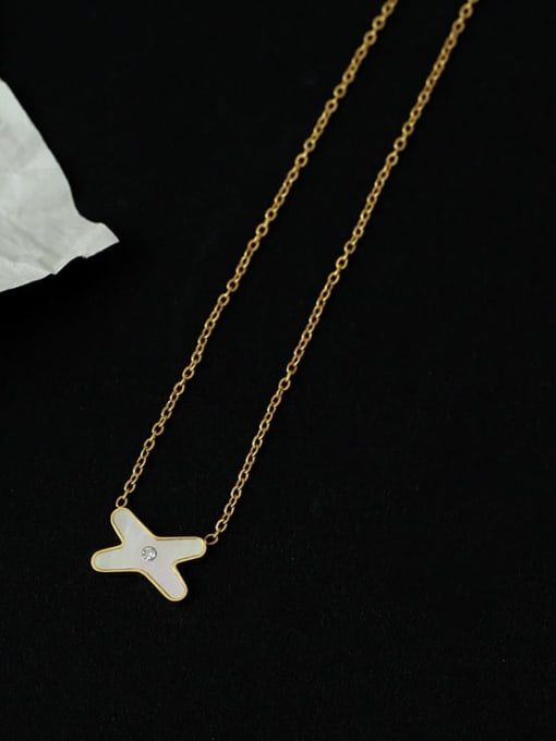 Five Color Brass Shell Letter Minimalist Necklace
