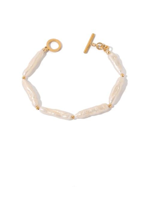 Pearl Bracelet Brass Freshwater Pearl Geometric Vintage Bracelet