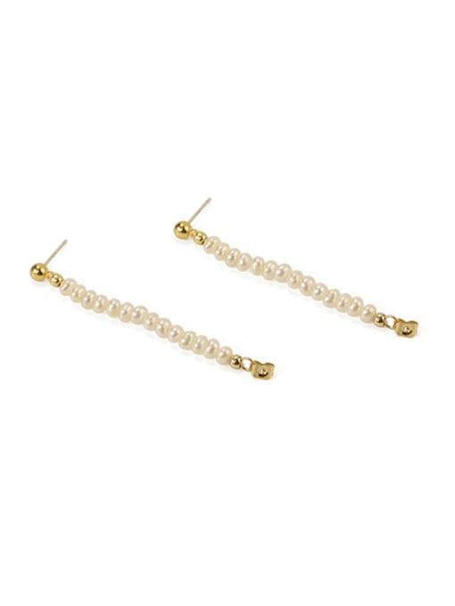 ACCA Brass Freshwater Pearl Geometric Vintage Chandelier Earring