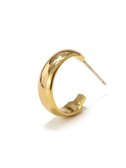 C-shaped Brass Smooth Geometric Minimalist Hoop Earring