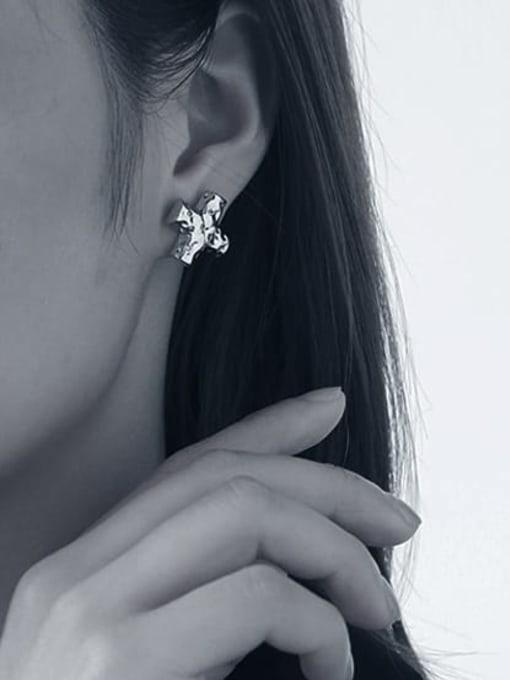 TINGS Brass Cross Minimalist Stud Earring