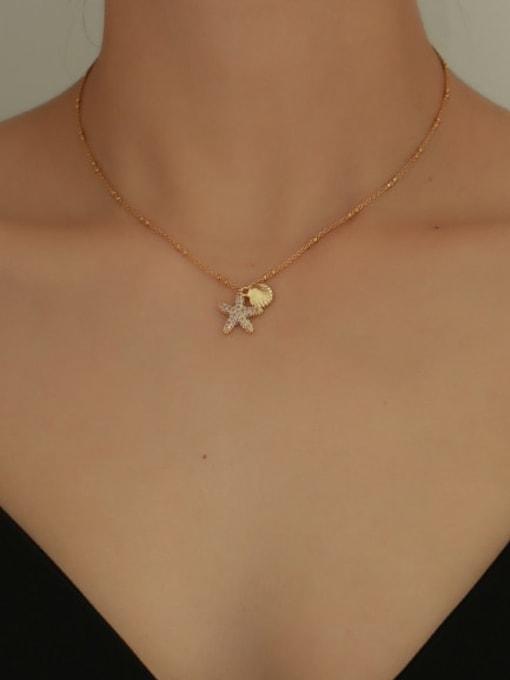 Five Color Brass Cubic Zirconia Star Minimalist Necklace 1